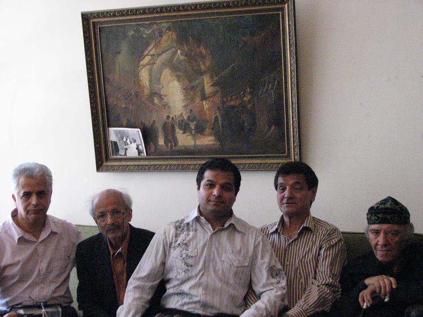 از چپ به راست: رضا عقدایی - عظیم زرینکوب - چکاد سرامی - قدمعلی سرامی - مظاهر مصفا